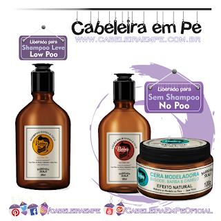 Produtos Liberados da linha Barba's - Skala (Shampoo Low Poo, Balm pós barba e cera modeladoralibrados para No Poo)