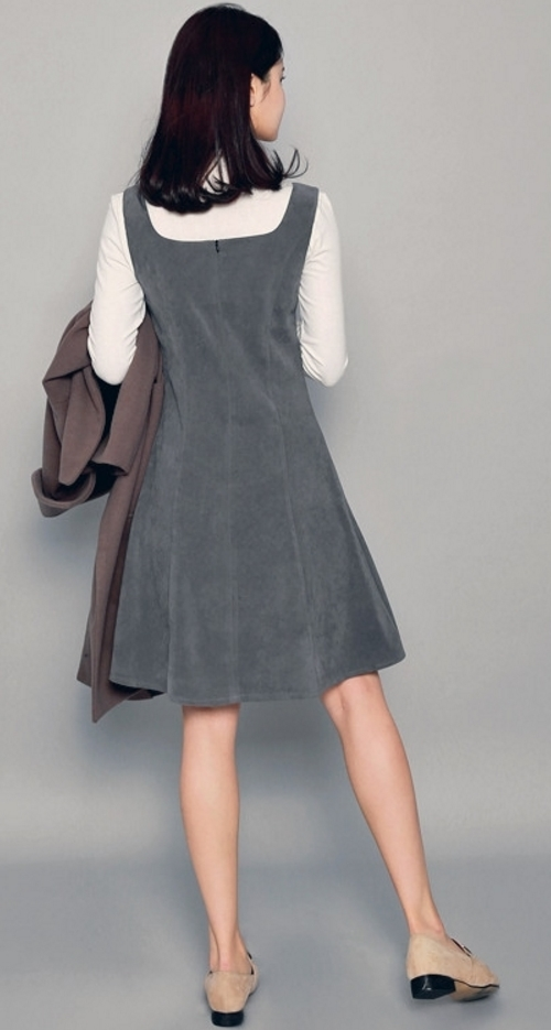 Cutout Neck A-Line Pinafore Dress