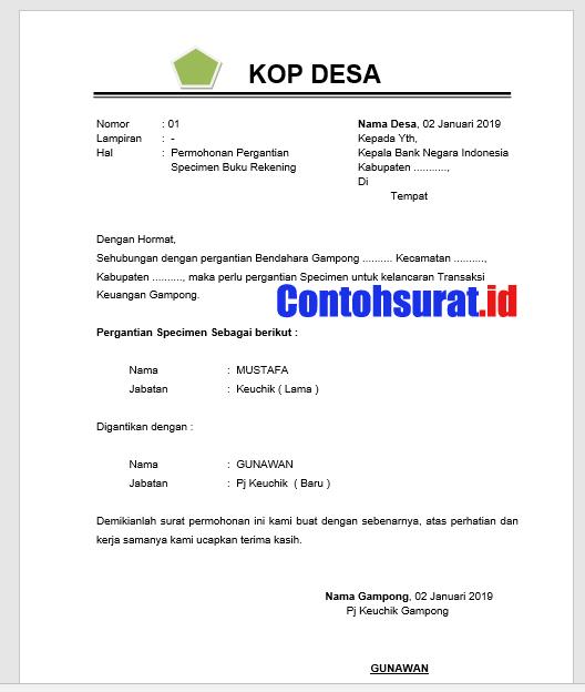 Contoh Surat Pergantian Specimen Rekening Bank Gampong / Desa | Bank BNI, Mandiri, BRI, Bank Aceh