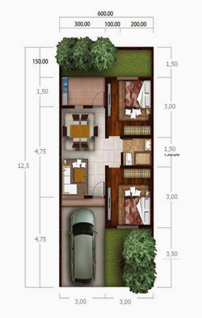 30 Denah Rumah Minimalis Type 36 - Rumahku Unik