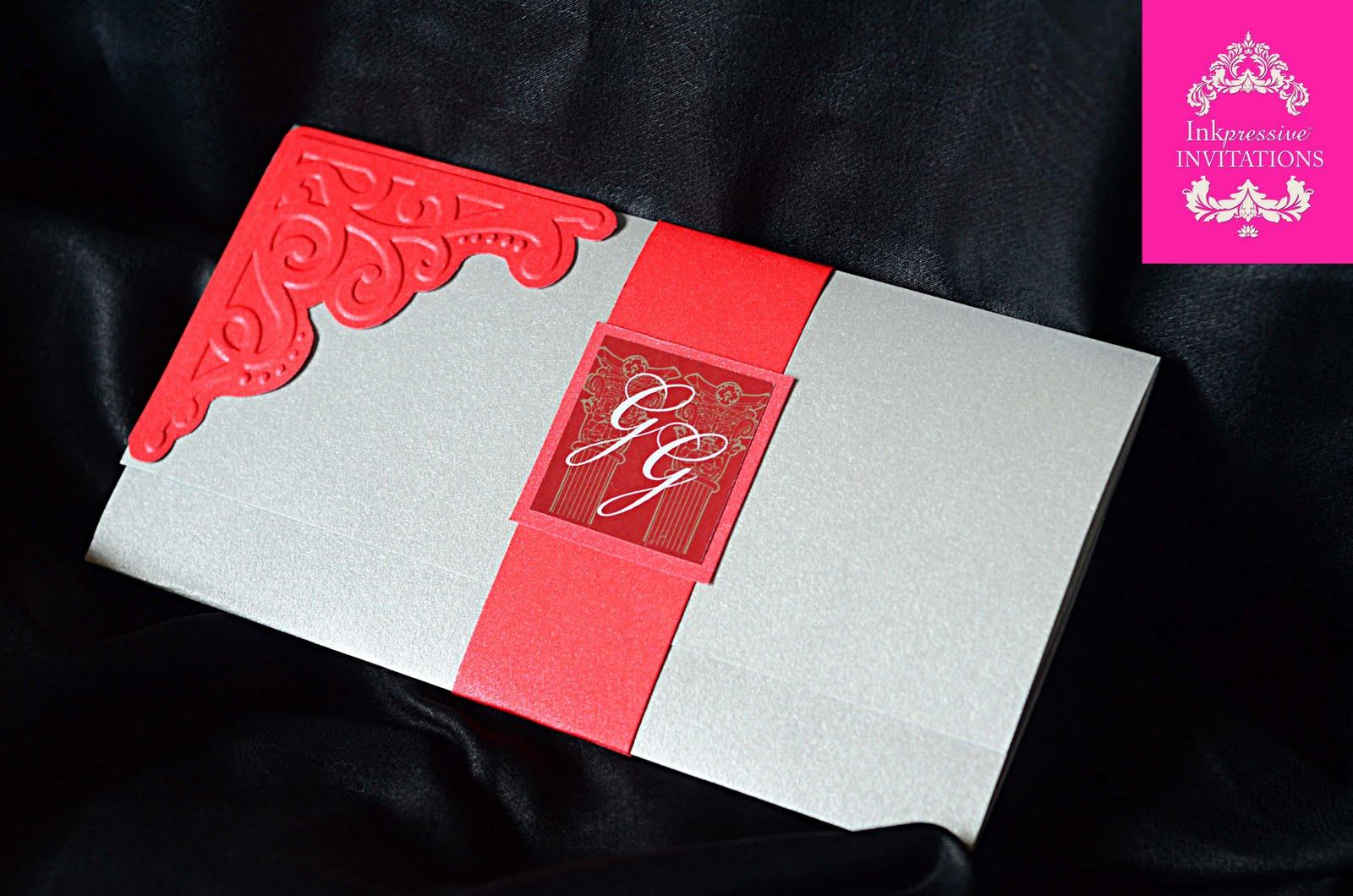 Red And Silver Wedding Invitation Inkpressive Invitations