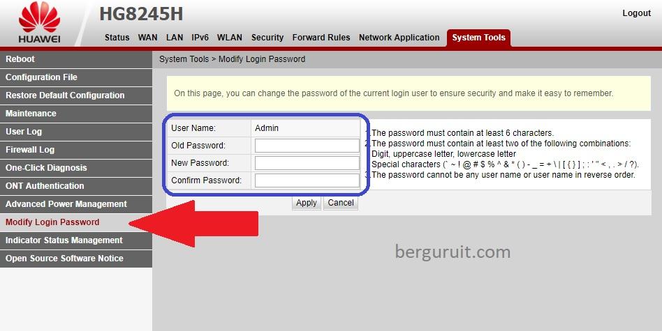 Cara Merubah Password Login Indihome Modem Huawei HG8245H