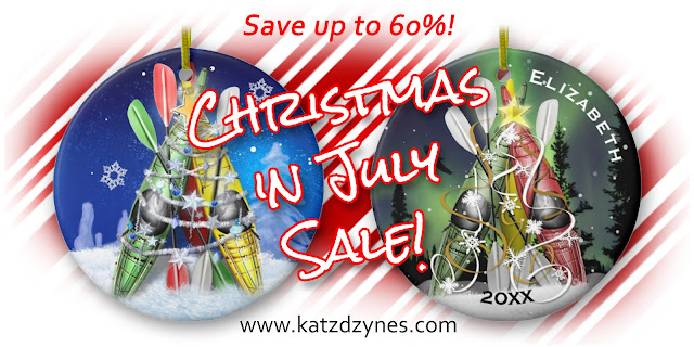 THE Kayak Christmas Tree ornaments, greeting cards and tree skirts by katzdzynes