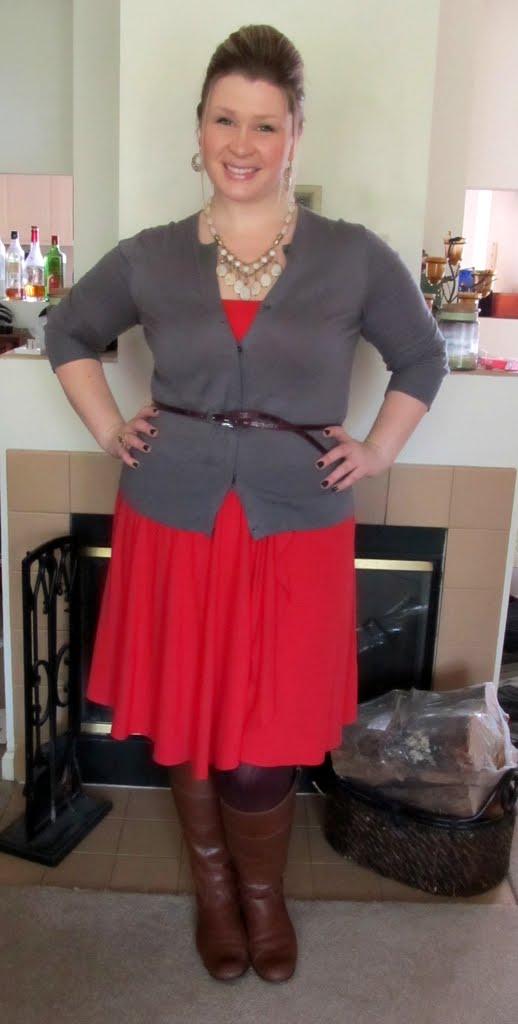 5431fa34011 Orange strapless dress - Ann Taylor   Grey cardigan - LOFT   Boots - Ciao  Bella (via DSW)   Burgundy tights - Simply Vera (Kohl s)   Maroon skinny  belt ...