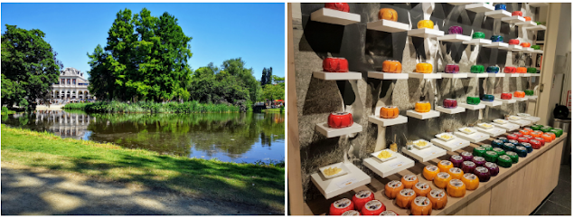 Views of greenery and lakes in Vondelpark and inside a typical Amsterdam cheese shop selling a wide variety of cheese in different brightly coloured wax covers.