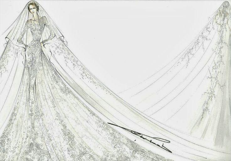 claire lademachers wedding dress sketch by elie saab