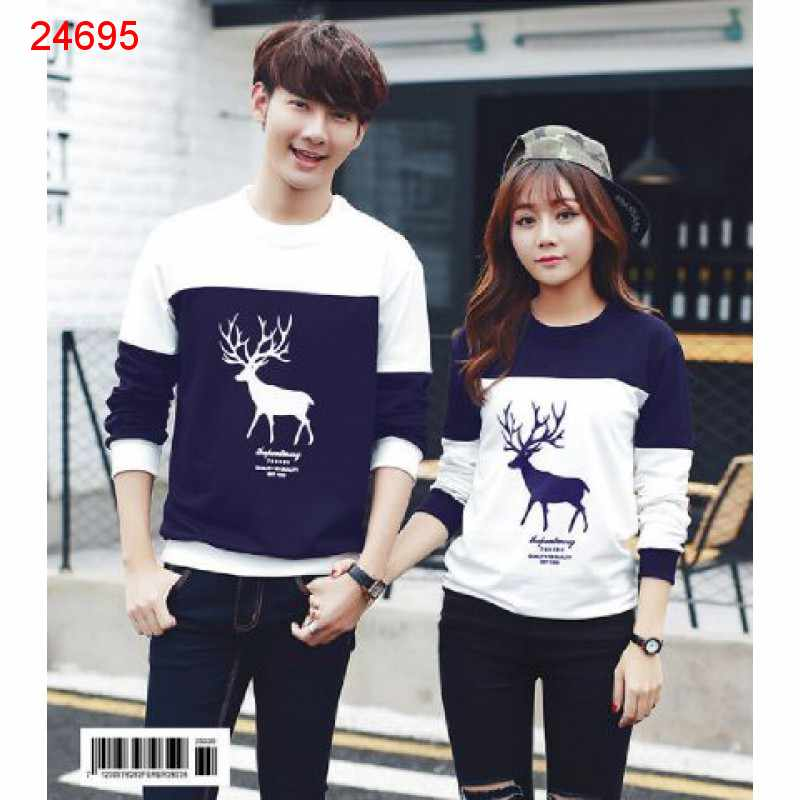 Jual Sweater Couple Sweater Moose Navy White - 24695