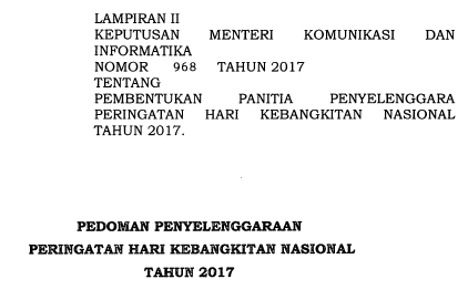 Pedoman Peringatan Harkitnas ke-109 tahun 2017