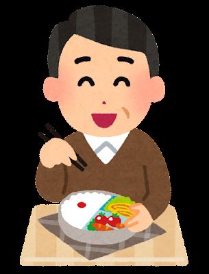 お弁当を食べるおじさんのイラスト