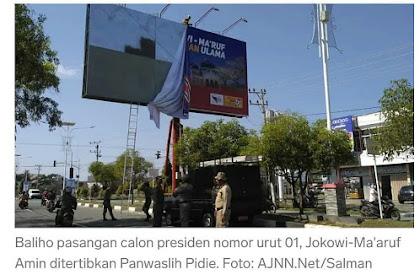 Kha That Panwaslih dan Satpol PP Pidie, baliho Jokowi Ji Peutron