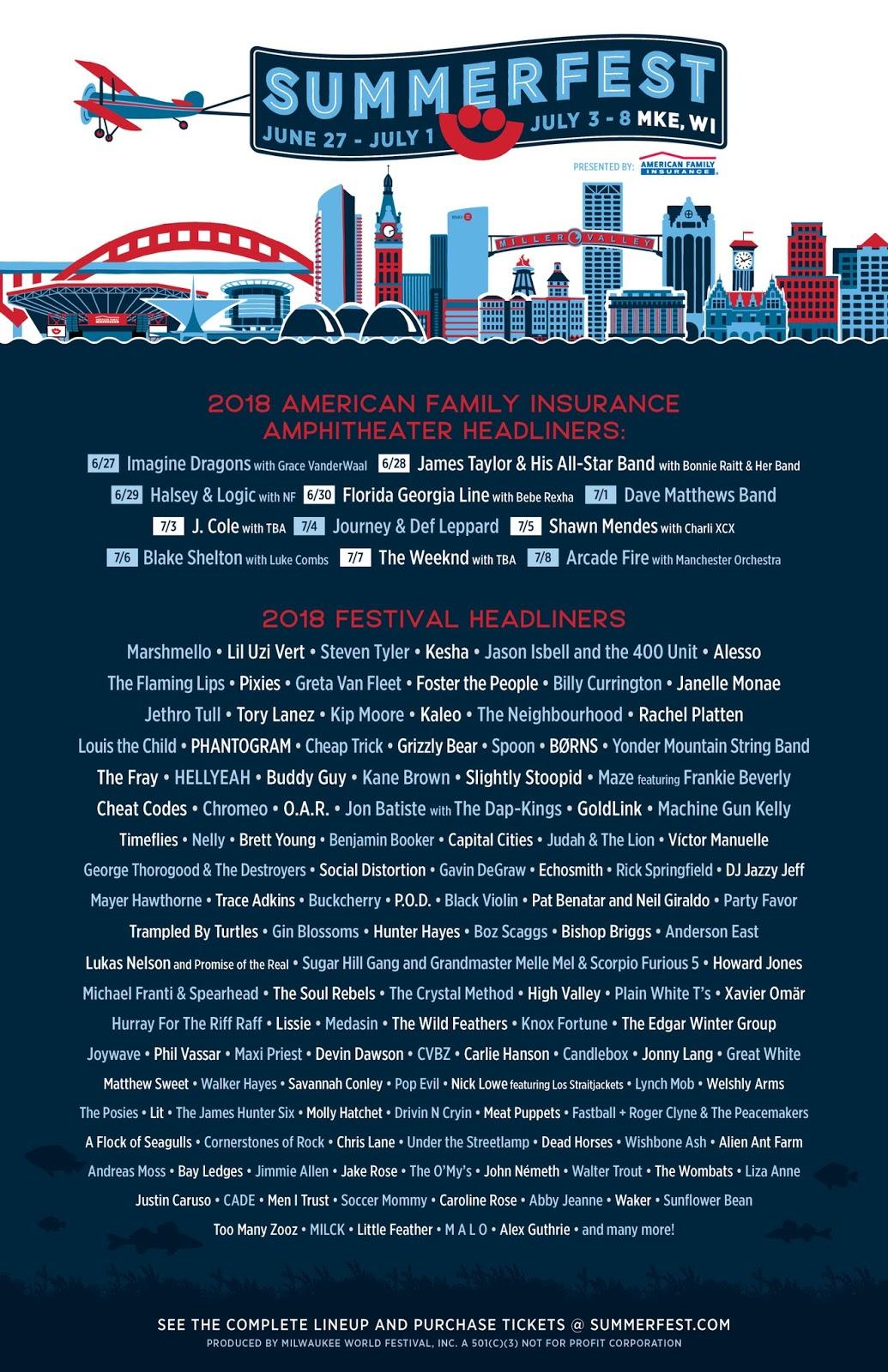 Summerfest 2018 Lineup