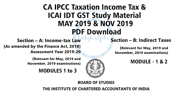 CA IPCC GST Study Material May 2019 By ICAI PDF Download Dailybestjobs