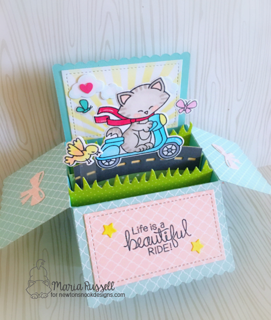 Newton Scoots By 3D Card by Maria Russell | Newton Scoots By Stamp set by Newton's Nook Designs #newtonsnook
