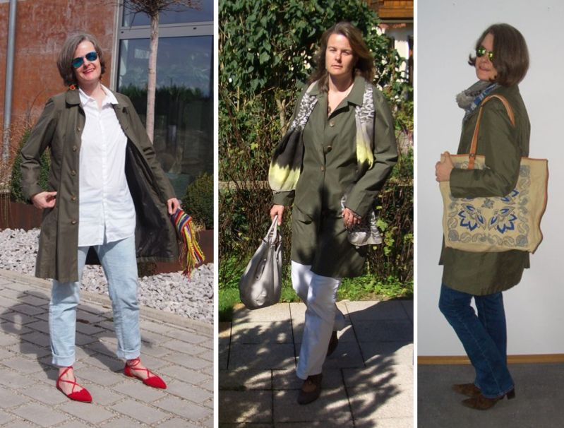 Trenchcoat in Olive - Styling Idee mit der Trendfarbe