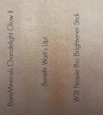 BareMinerals Chandelight Glow Illuminator, Benefit Watt's Up!, W3ll People Bio Brightener Stick