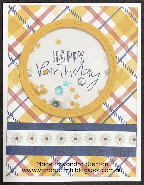 #CTMHGrateful Heart, Grateful Heart, #CTMHVandra, plaid, checked, shaker card, confetti, thin cuts, star, happy birthday, flowers, Z4309, window foam, acetate, Sequins,