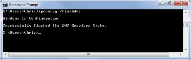 ipconfig /flushdns command in cmd prompt