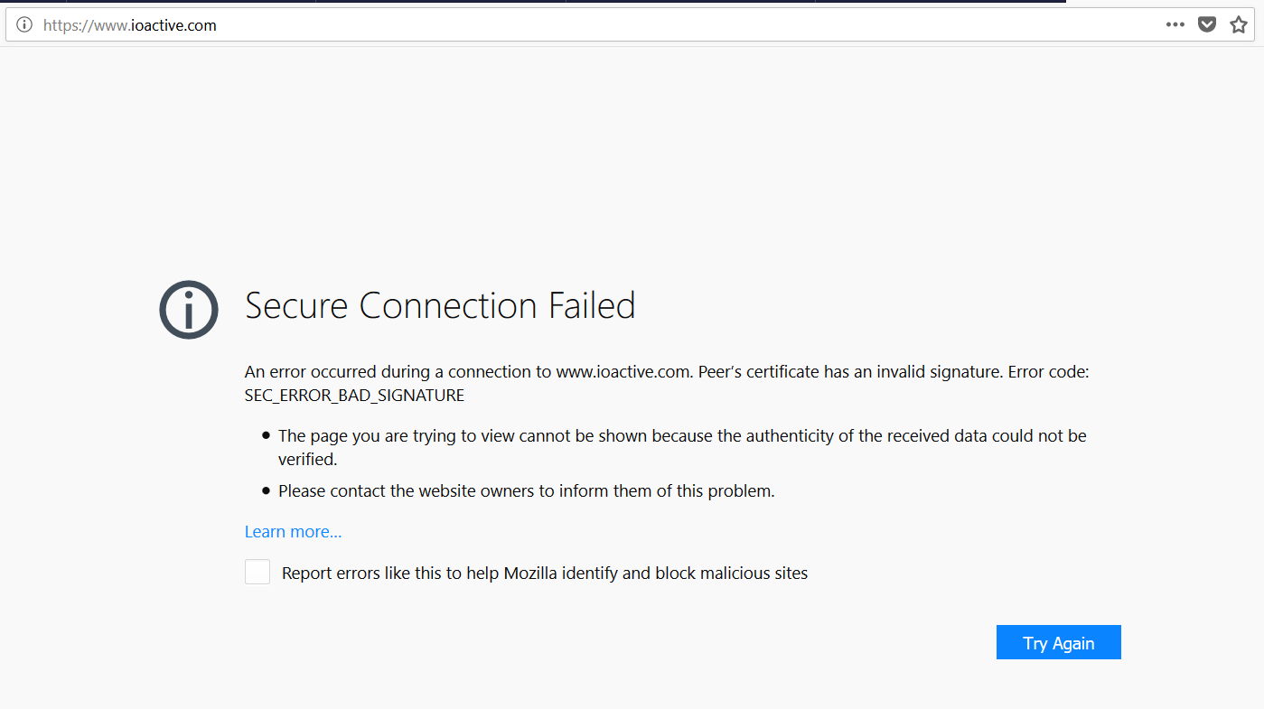 Ioactive labs research easy ssl certificate testing the error code explains the problem secerrorbadsignature which matches the first test case in the list at this point certslayer has already prepared xflitez Gallery
