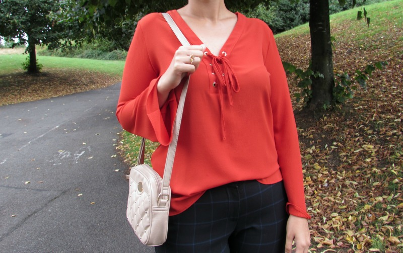 Primark lace-up top with flute sleeves