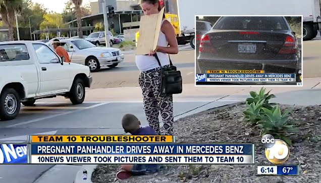 A pregnant beggar with boy drives off in a Mercedes-Benz