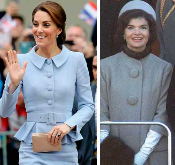 Kate Middleton e Jacqueline Kennedy look azul