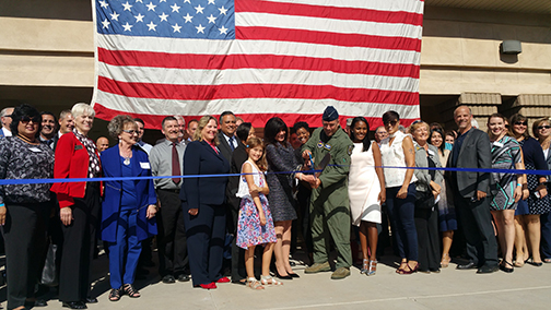 group photo at today's ribbon-cutting ceremony led by Luke AFB commander Brigadier General Brook J. Leonard & MCCCD Chancellor Maria Harper-Marinick
