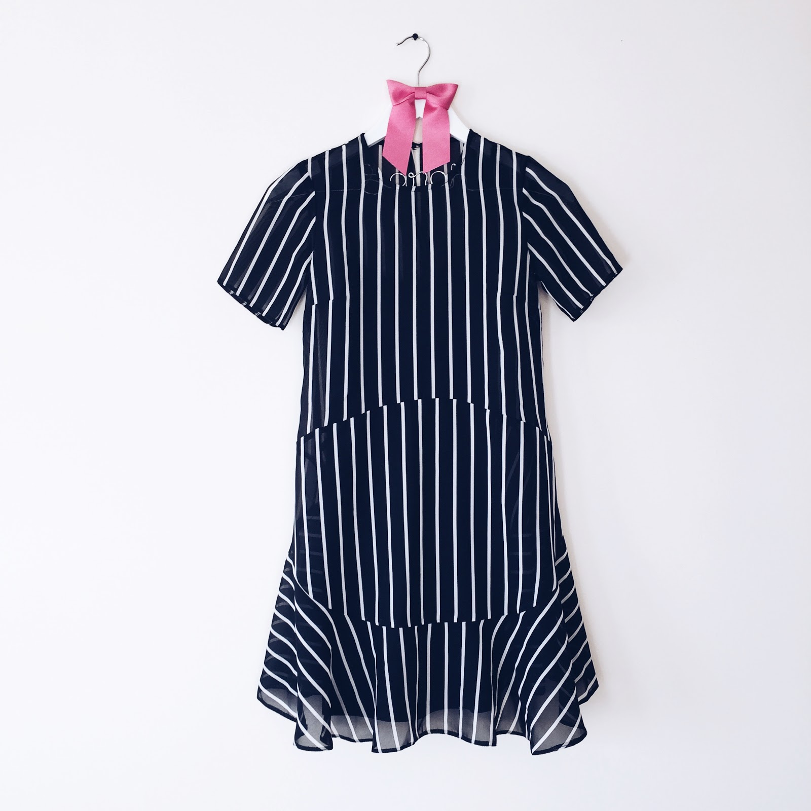 monochrome stripy dress