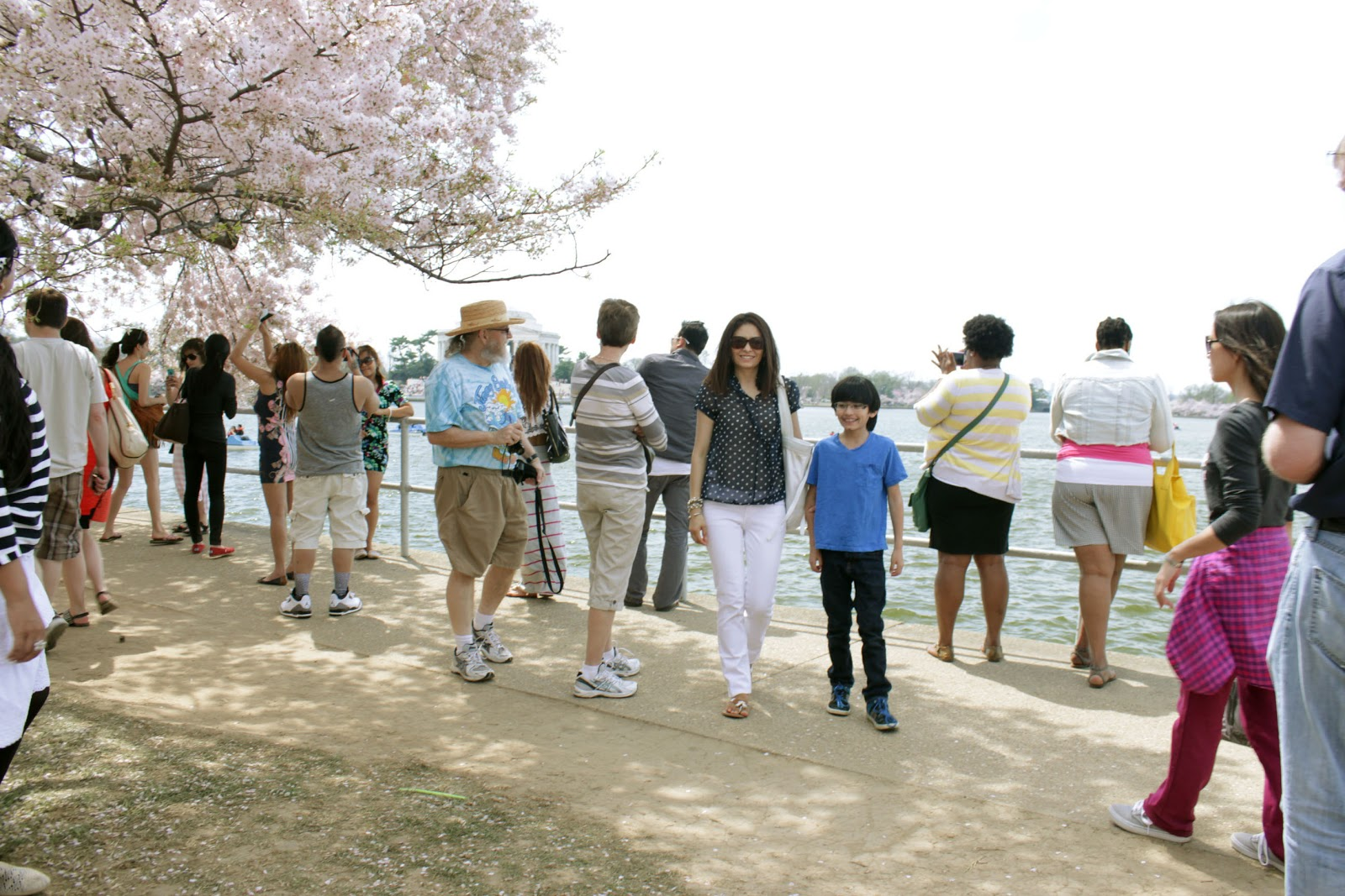 Cristina Garay and son during cherry blossom festival DC