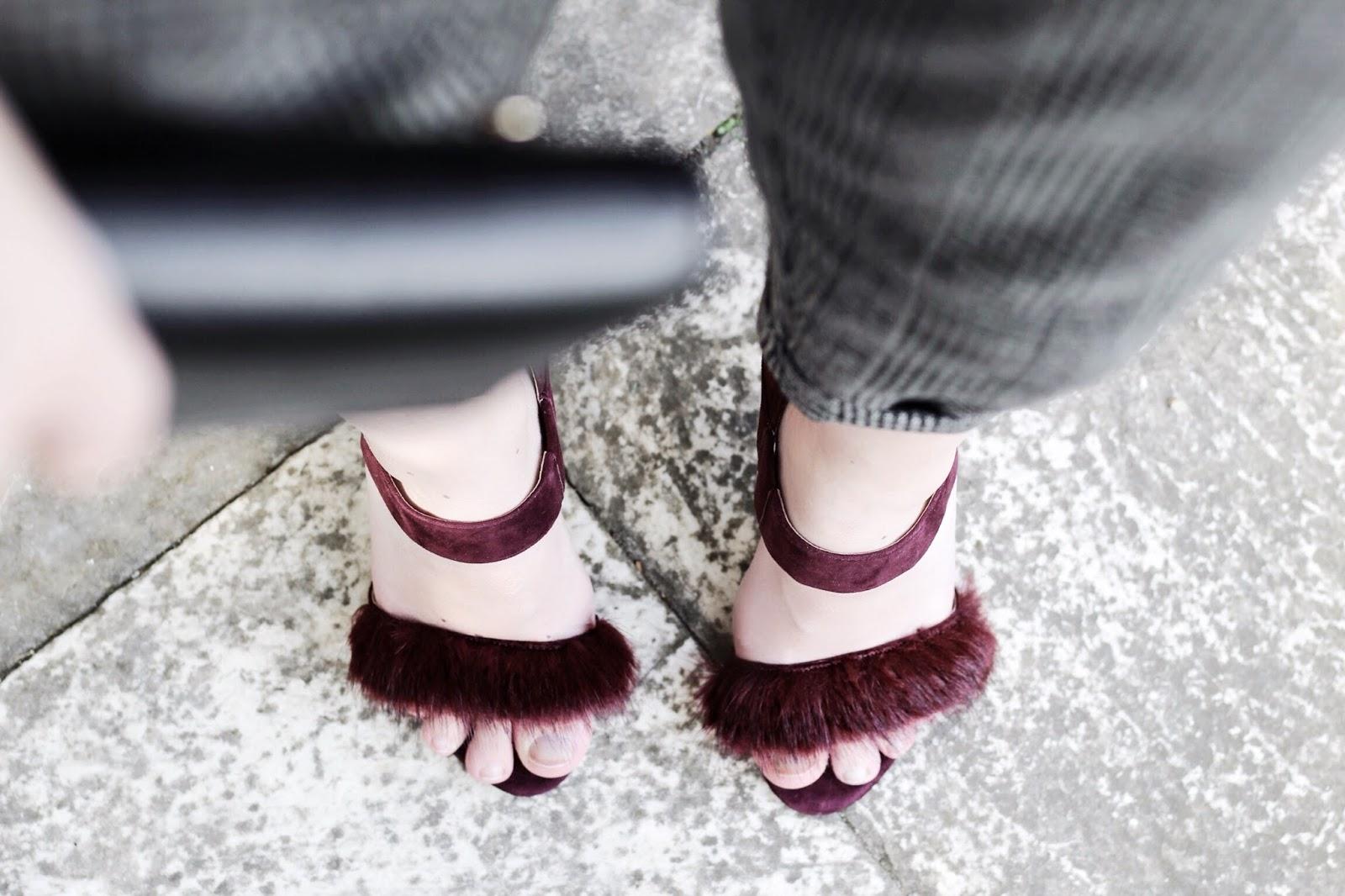 Fluffy Toe Dark Red Maroon Karen Millen Heels Sandals