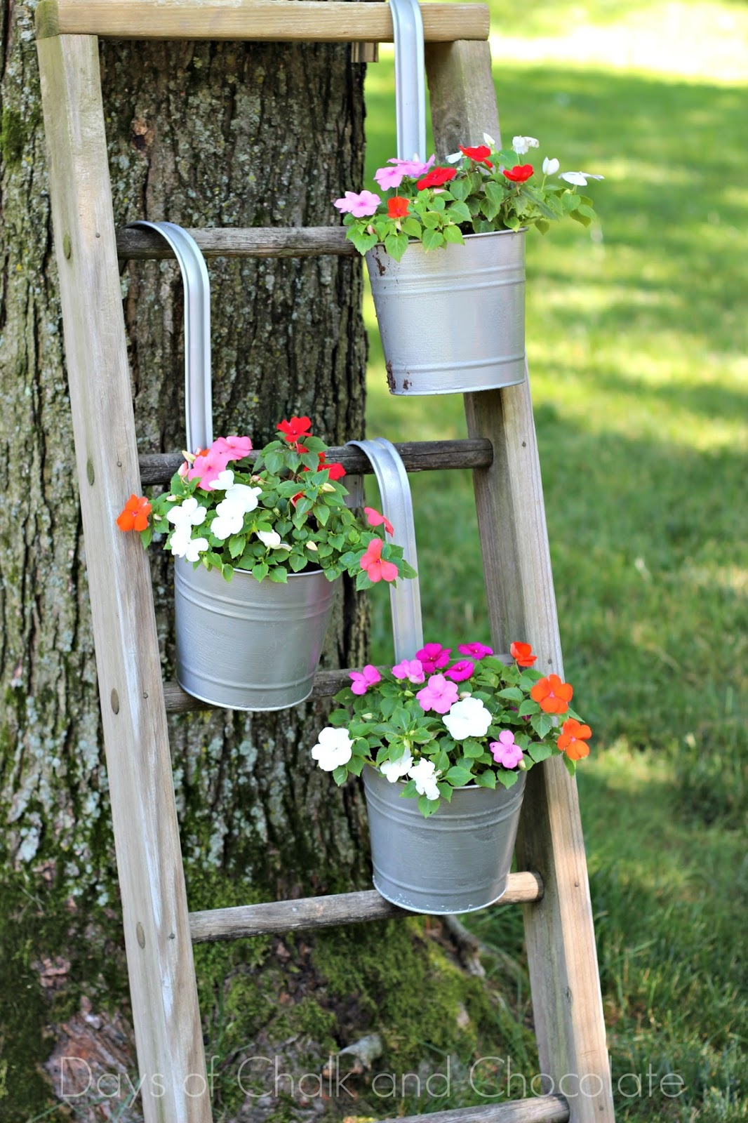 DIY Galvanized Planters and Ladder Plant Stand   Days of ... on Stand For Hanging Plants  id=44174