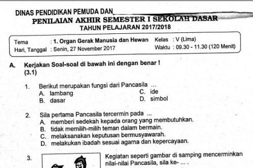 Update Soal Pat Kelas 1 Sd Semester 2 Kurikulum 2019 Paling Update