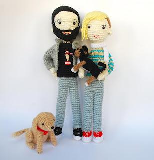 Retratos de amigurumi con perros