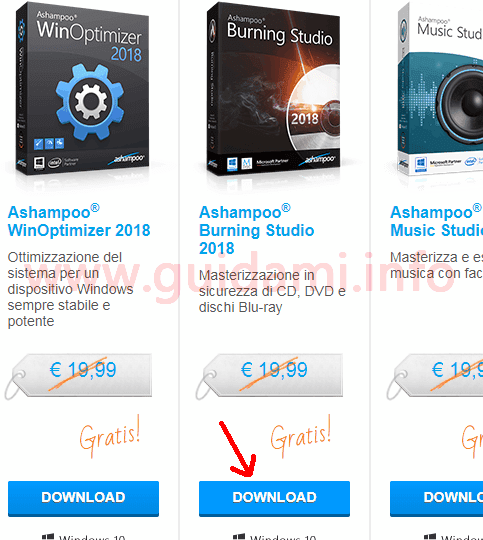 Pagina promozione download gratis Ashampoo Burning Studio 2018