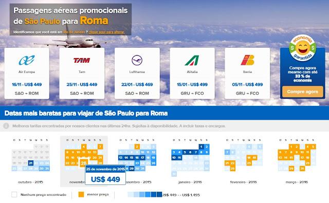 Comparador para achar passagens aéreas baratas em Roma