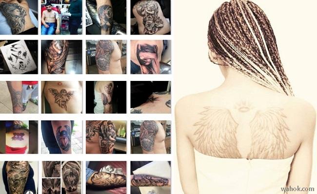 Kumpulan Gambar Tato 2D Malaikat Keren, Koleksi Wahok Terbaru / Tattoo 3D Angel