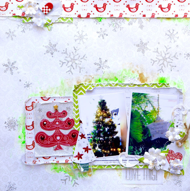 Love This Scrapbook Page by Katherine Sutton using BoBunny Merry and Bright