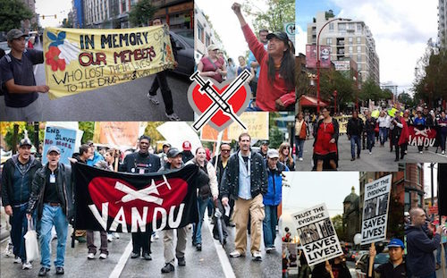 Collage of photos from VANDU demonstrations