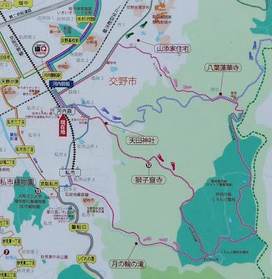 交野市観光案内地図 獅子窟寺へのルート