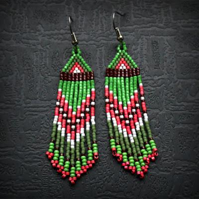 яркие бисерные серьги с бахромой купить в интернет магазине ру