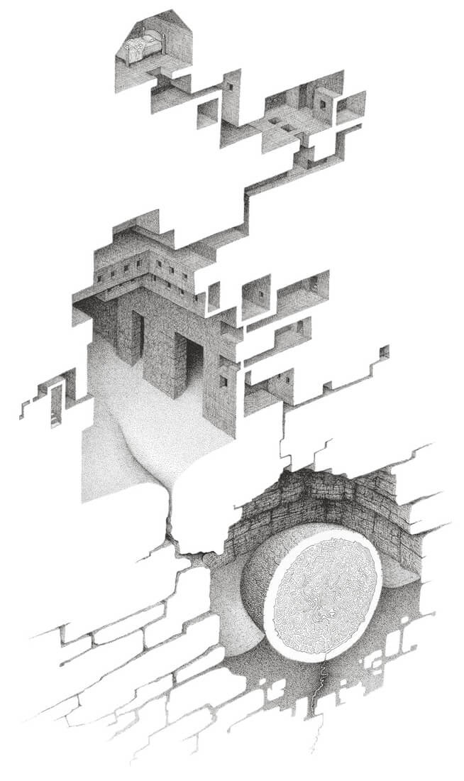 02-Odd-Discovery-Matt-Borrett-Hiding-in-a-Safe-Architectural-Labyrinth-Drawing-www-designstack-co
