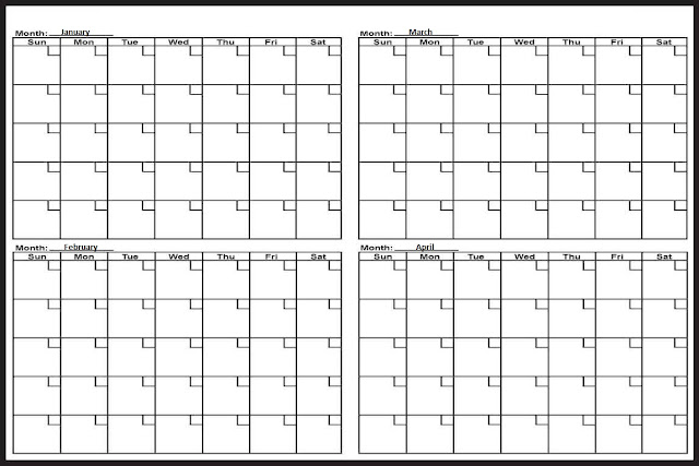 image relating to 4 Month Calendar Printable titled 4 thirty day period calendar template -
