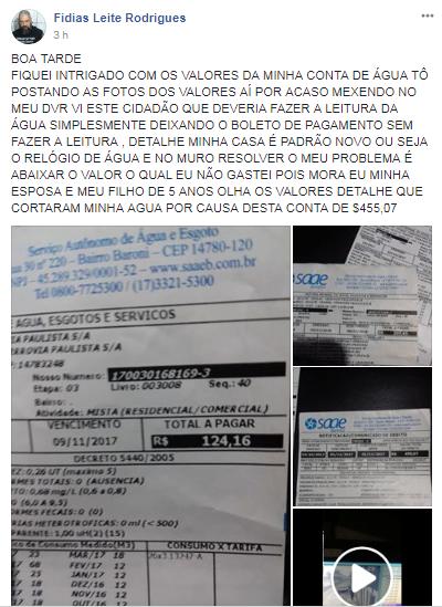 MUNÍCIPE FAZ GRAVE DENÚNCIA DE FRAUDE EM CONTA DE ÁGUA DO SAAE DE BARRETOS (RÁDIO CULTURA FM DE GUAIRA-SP)