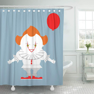 Stephen King It Pennywise Shower Curtain, Stephen King Home Accessories