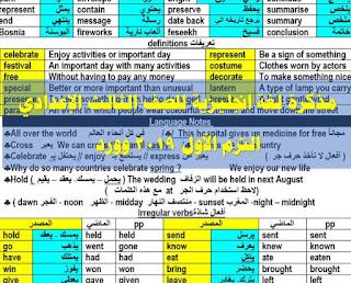 مذكرة لغة انجليزية للصف الثالث الإعدادي الترم الأول 2019 word