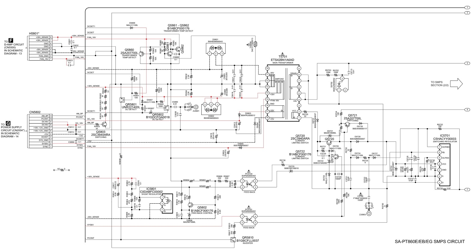 Panasonic HTS SA PT860E SMPS and Amplifier circuit diagram