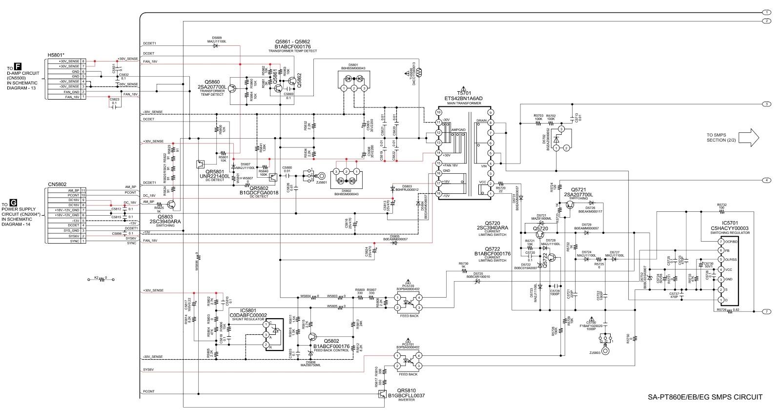 Panasonic Hts Sa Pt860e Smps And Amplifier Circuit Diagram