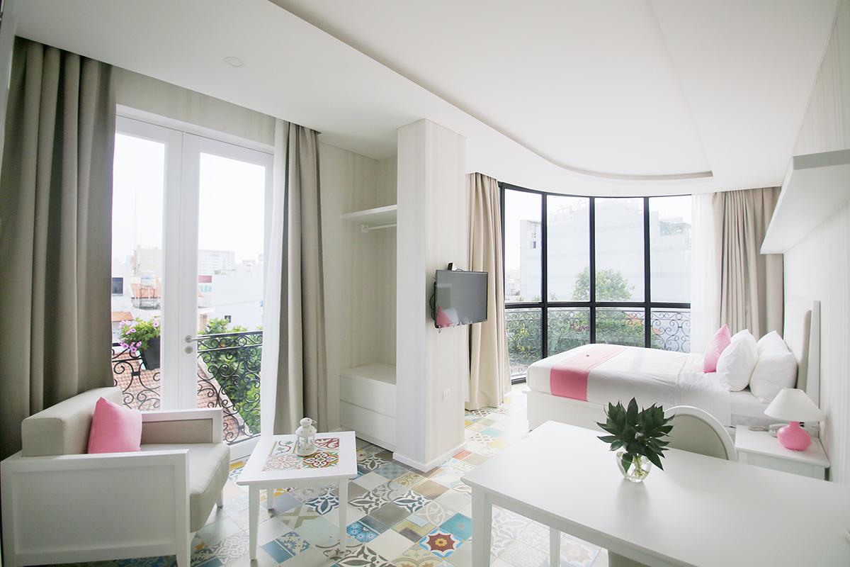 Nội thất phòng ngủ góc cung bo tròn