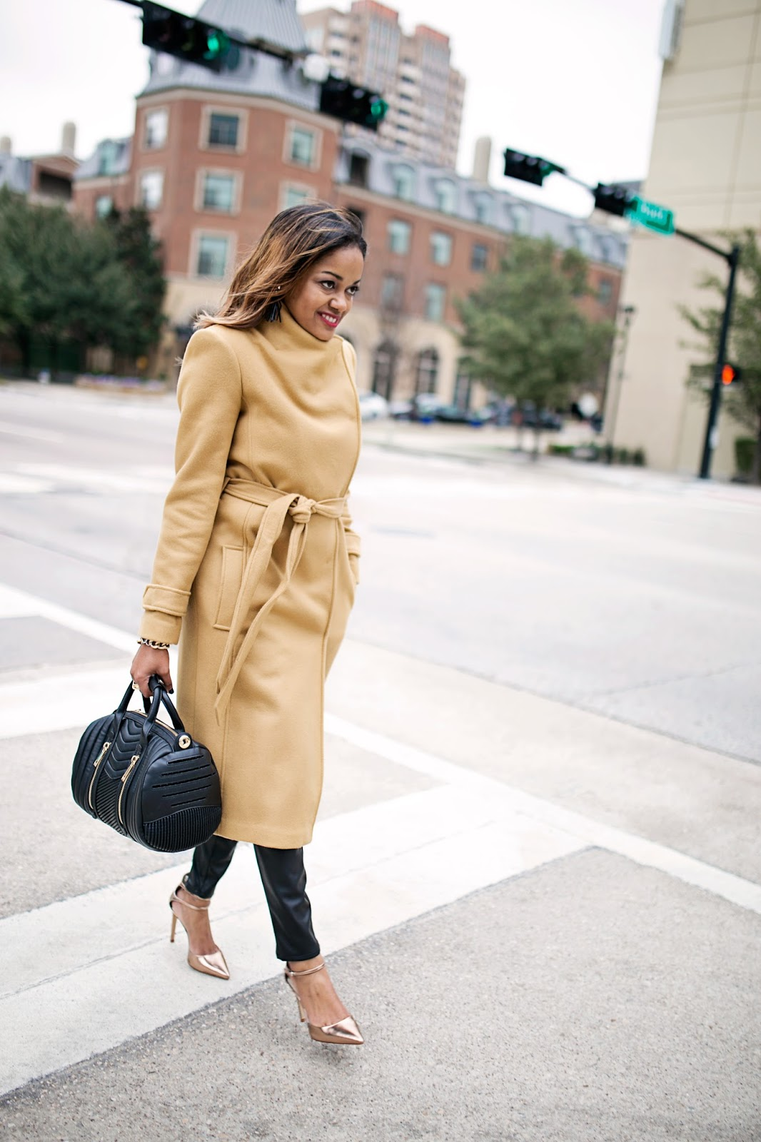 asos camel coat, zara leather leggings, rose gold heels, zara handbag, forever 21 zip turtleneck, fashion blogger, dallas fashion blogger, detroit fashion blogger, black girl fashion