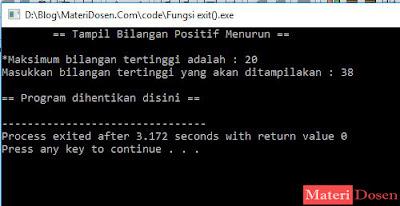 Contoh Program dengan Fungsi exit() C++ - input 38