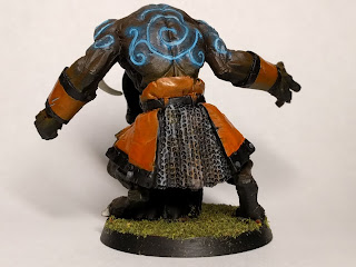 Finished Minotaur back view with glowing tattoos